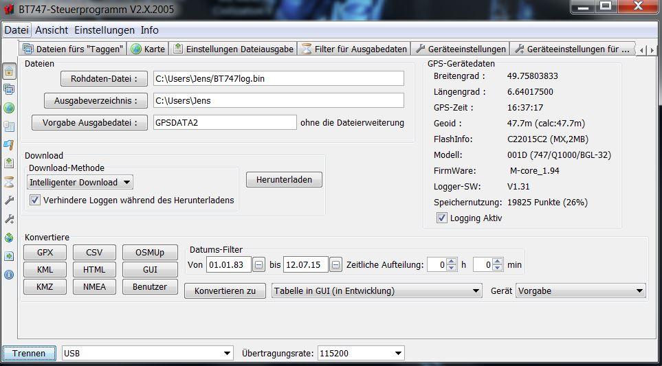 Startbildschirm von BT747 - hier kann man heruntergeladene Daten vom IBlue in verschiedene Formate umwandeln