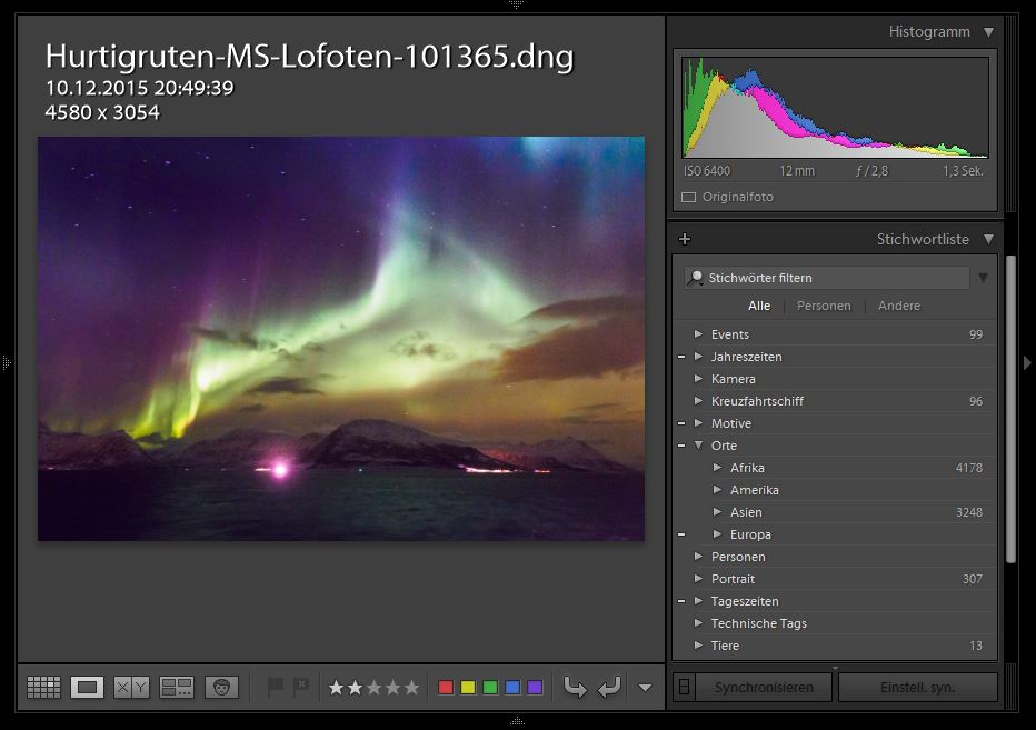 Die Stichwortliste in Lightroom