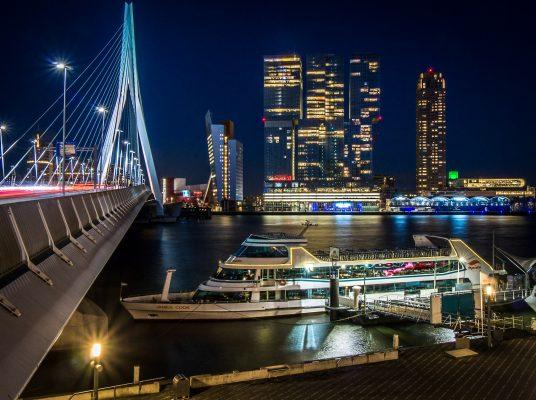 Die Erasmusbrücke in Rotterdam bei Nacht